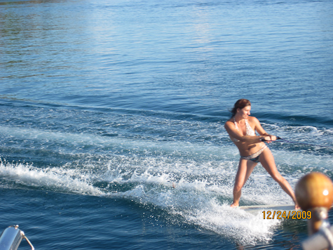 Tammy tow surfing