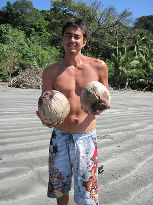 Steve with coconuts